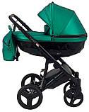 Универсальная детская коляска 2 в 1 Bair Crystal 100% кожа BC-35 зелёный перламутр - черный, фото 3