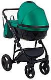 Универсальная детская коляска 2 в 1 Bair Crystal 100% кожа BC-35 зелёный перламутр - черный, фото 4