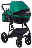 Универсальная детская коляска 2 в 1 Bair Crystal 100% кожа BC-35 зелёный перламутр - черный, фото 5