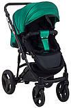 Универсальная детская коляска 2 в 1 Bair Crystal 100% кожа BC-35 зелёный перламутр - черный, фото 6