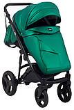 Универсальная детская коляска 2 в 1 Bair Crystal 100% кожа BC-35 зелёный перламутр - черный, фото 7