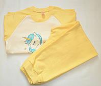 """Детская теплая пижама для девочки """"Единорог"""" (Цвет: желтый, Размер - 122, 128, 134, 140) ТМ ГАББИ"""