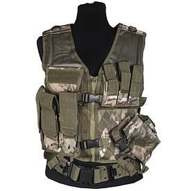 Жилет разгрузочный тактический с ремнем Mil-Tec USMC Combat Vest Multicam