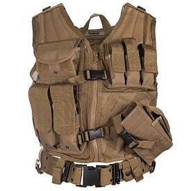 Жилет разгрузочный тактический с ремнем Mil-Tec USMC Combat Vest Койот