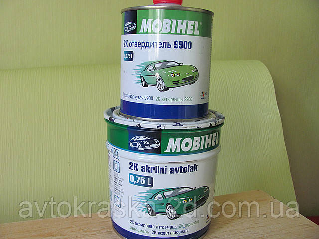 Краска акриловая автоэмаль Белый Газ MOBIHEL 0,75 л + отвердитель 9900 0,375 л