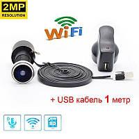 Видеоглазок wifi беспроводной c датчиком движения и записью HD1080P HQCAM-1101, с USB кабелем 1 метр