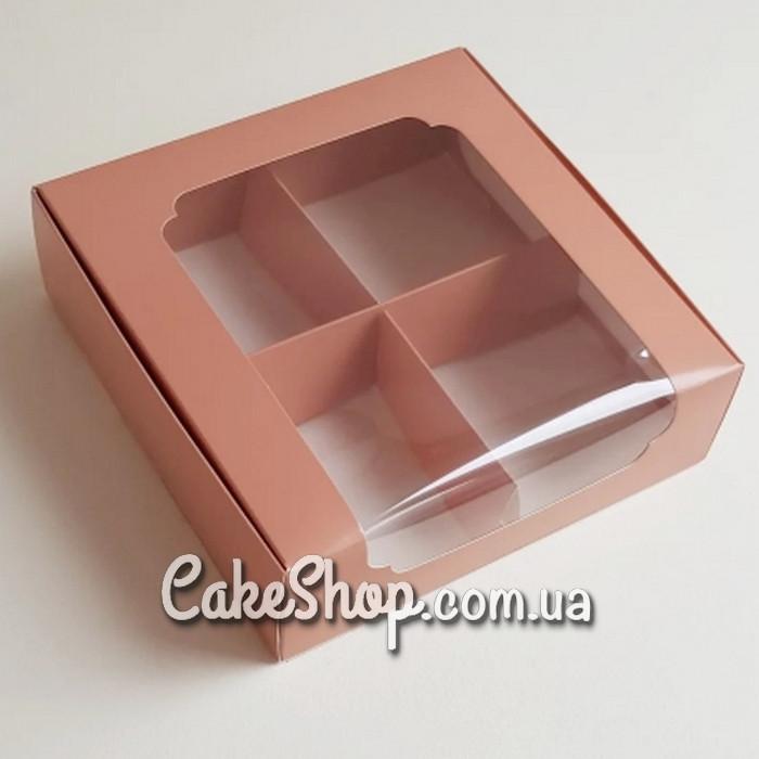 Коробка для десертов с окошком 20х20х6, Кофе