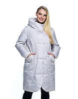Женская демисезонная куртка большого размера, капюшон вшитый, р-ры с 44 по 56, жемчуг(106)