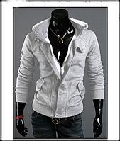 Мужская толстовка, реглан с капюшоном код 48 светло-серая
