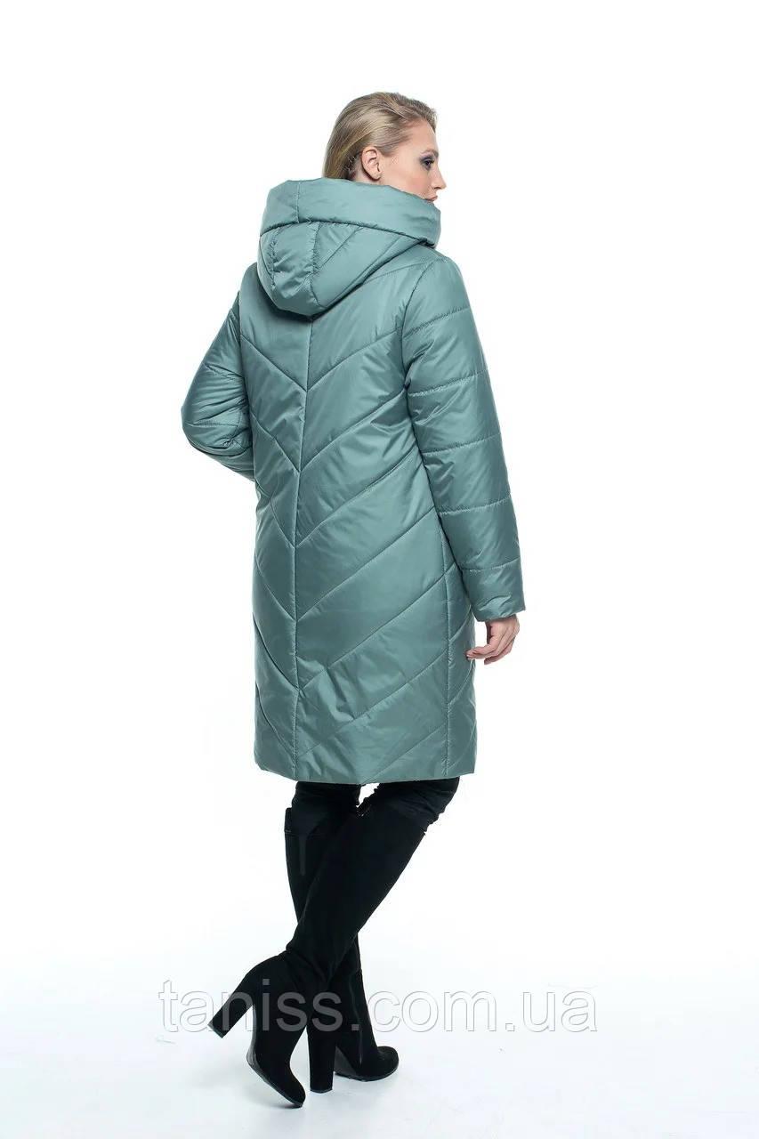 Женская демисезонная куртка большого размера, капюшон вшитый, р-ры с 44 по 56, мята(106) - фото 4