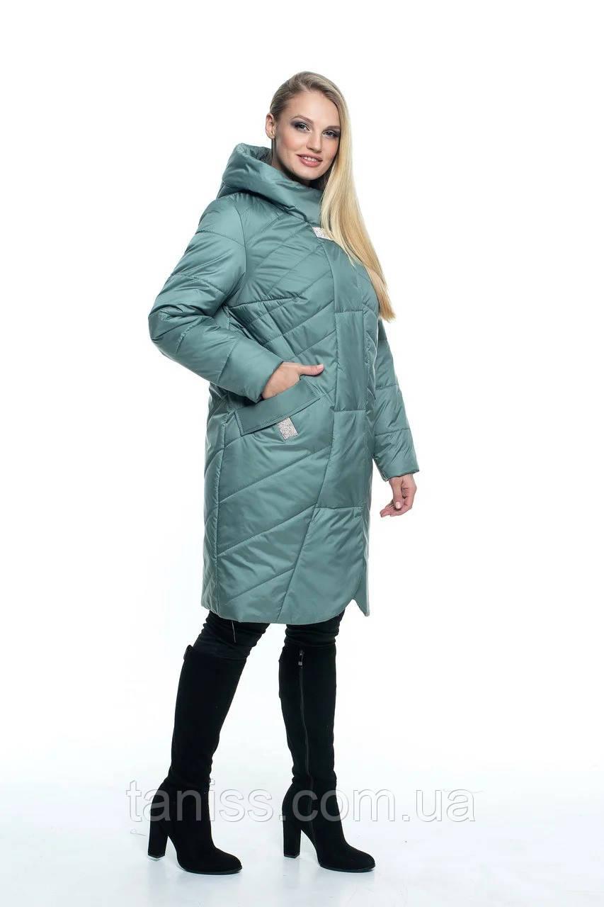 Женская демисезонная куртка большого размера, капюшон вшитый, р-ры с 44 по 56, мята(106) - фото 2