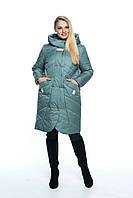 Женская демисезонная куртка  большого размера, капюшон вшитый, р-ры с 44 по 56, мята(106)