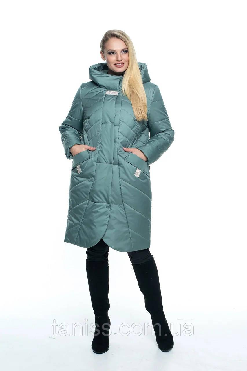 Женская демисезонная куртка большого размера, капюшон вшитый, р-ры с 44 по 56, мята(106) - фото 1