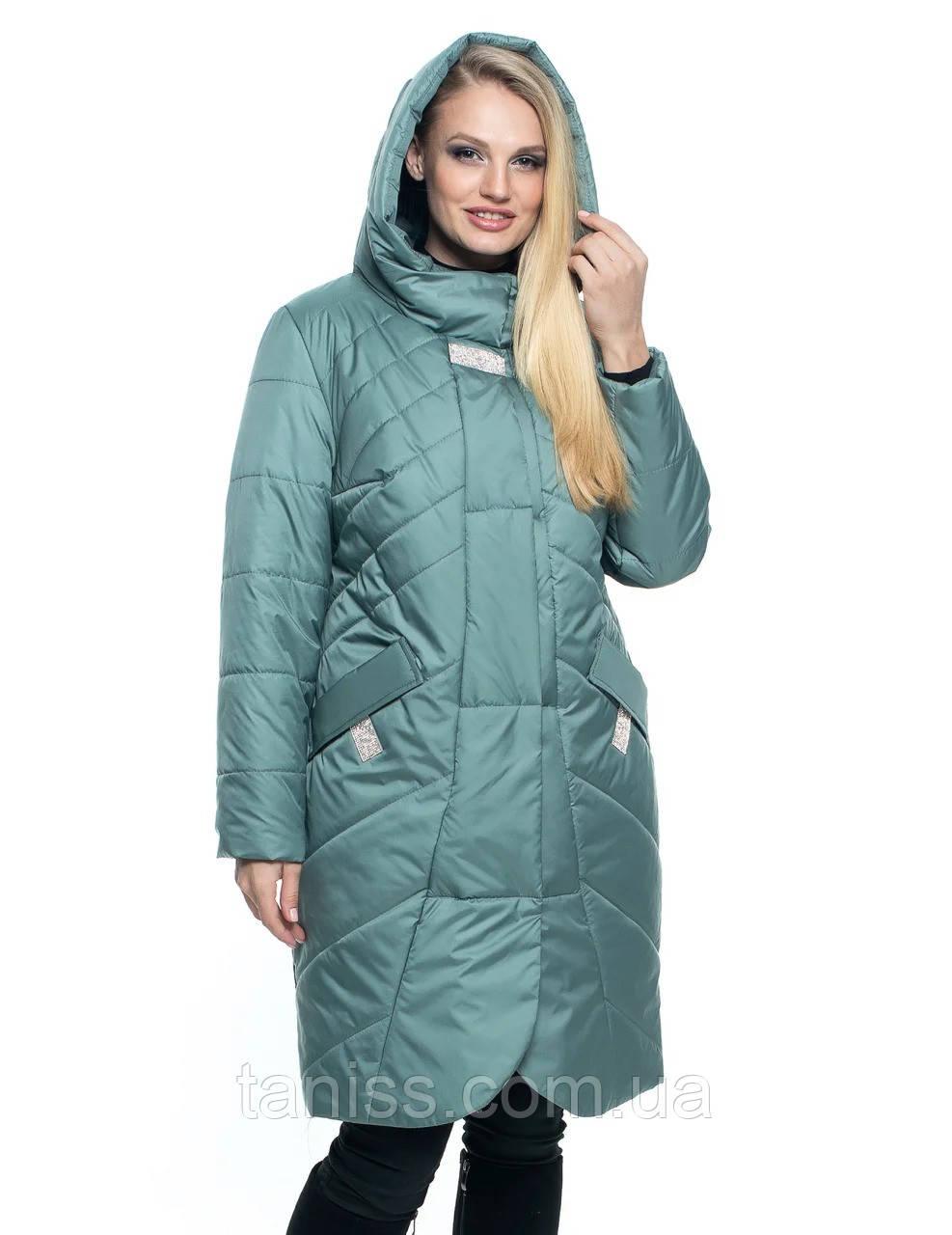 Женская демисезонная куртка большого размера, капюшон вшитый, р-ры с 44 по 56, мята(106) - фото 3