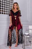 Комплект 3-ка женский, халат с кружевом, кружевной топ +шортики, модный, стильный, удобный, шикарный, 56 р-ра