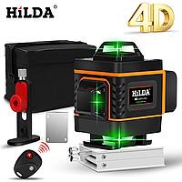 АКЦИЯ* !4D! ЗЕЛЕНЫЙ ЛУЧ + ПУЛЬТ! Лазерный уровень Hilda 4D 16 линий