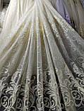 Тюль бежевого цвета на основе льна с вышивко на метраж и опт  Высота 2.8 м Шампань, фото 6