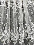 Тюль бежевого цвета на основе льна с вышивко на метраж и опт  Высота 2.8 м Шампань, фото 4