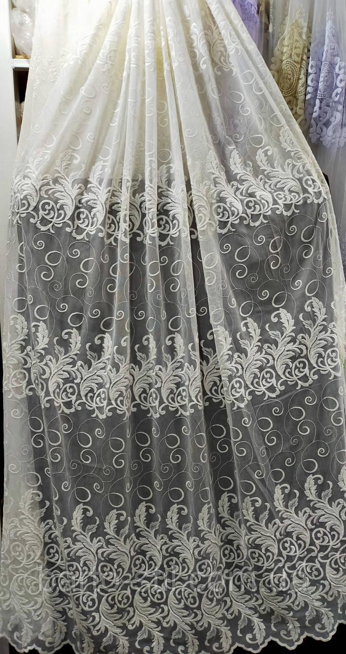 Тюль бежевого цвета на основе льна с вышивко на метраж и опт  Высота 2.8 м Шампань
