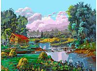 Картина по номерам Белоснежка Стога у реки 30х40 см (RN 355)