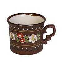 """Глиняная посуда """"Чашка малая обрезная Вишенка"""""""