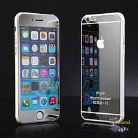 Защитное стекло (2in1) TG Premium Tempered Glass 0,26mm 2,5D для iPhone 6 Silver Mirror переднее + заднее