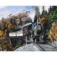 Картина по номерам Идейка Загородный дом Быстрый поезд 40х50 см (KHO2511)