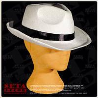 Белая гангстерская шляпа с черной лентой карнавальная