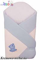 """Конверт - одеяло для новорожденного Махровый  ( бело-голубой )""""Duetbaby"""""""