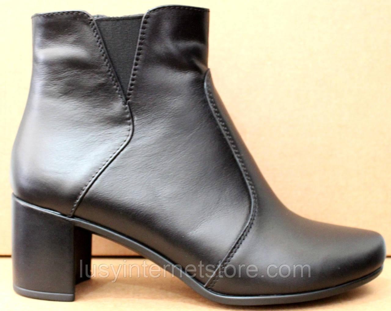 Черевики жіночі чорні шкіряні туфлі на підборах від виробника модель ШБ14Д