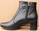 Черевики жіночі чорні шкіряні туфлі на підборах від виробника модель ШБ14Д, фото 3