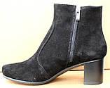 Черевики жіночі чорні замшеві туфлі на підборах від виробника модель ШБ14Д-1, фото 3