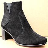 Черевики жіночі чорні замшеві туфлі на підборах від виробника модель ШБ14Д-1, фото 2