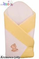"""Конверт - одеяло для новорожденного Махровый  ( бело-желтый )""""Duetbaby"""""""