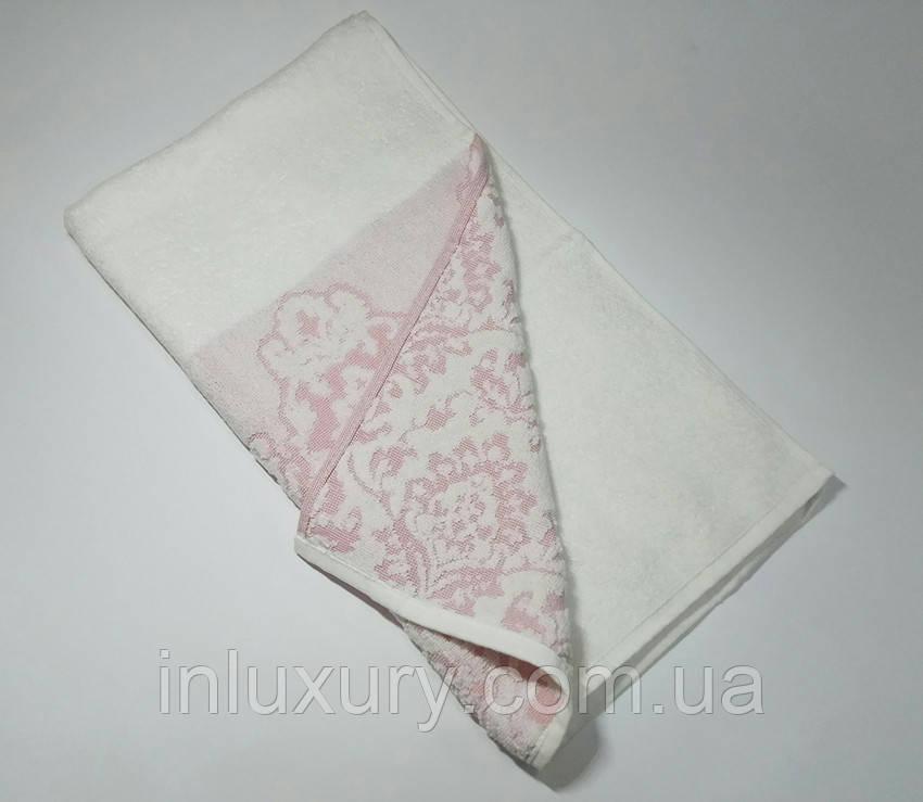 Полотенце жаккард Узор розовое