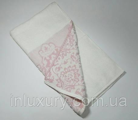 Полотенце жаккард Узор розовое, фото 2