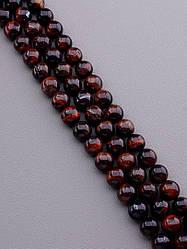 Нить из натуральных камней заготовка для бус и браслетов Бычий глаз 39 см. 12 мм.