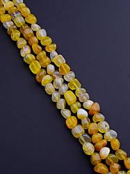 Нить из натуральных камней заготовка для бус и браслетов Агат 38 см. (Без замка)