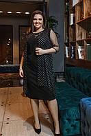 Черное нарядное платье большие размеры 50,52,54,58,60