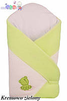 """Конверт - одеяло для новорожденного Махровый ( бело-салатовый )""""Duetbaby"""""""