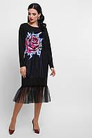 Необыкновенное стильное платье со вставкой из фатина, фото 1