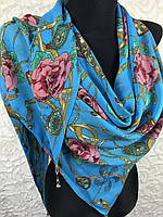 Шифоновая люксовая косынка голубого цвета с цветочным принтом (1)