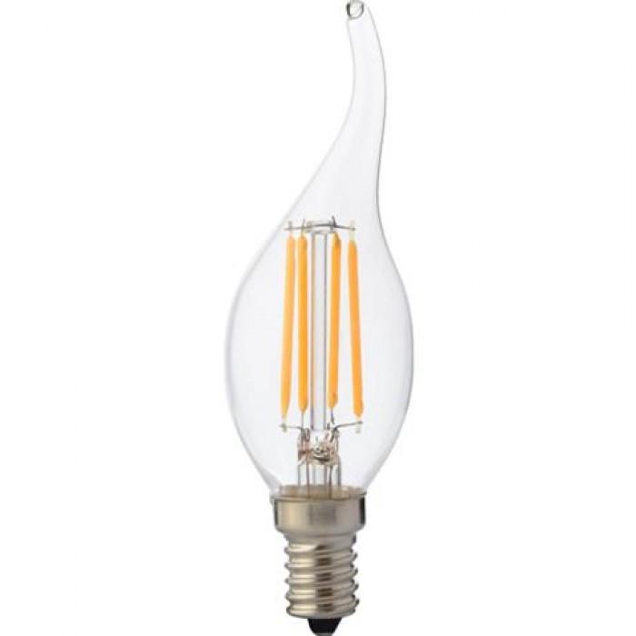 Лампа филамент HOROZ ELECTRIC FILAMENT FLAME-6 LED 6W свеча на ветру Е14 4200K 700Lm 220-240V