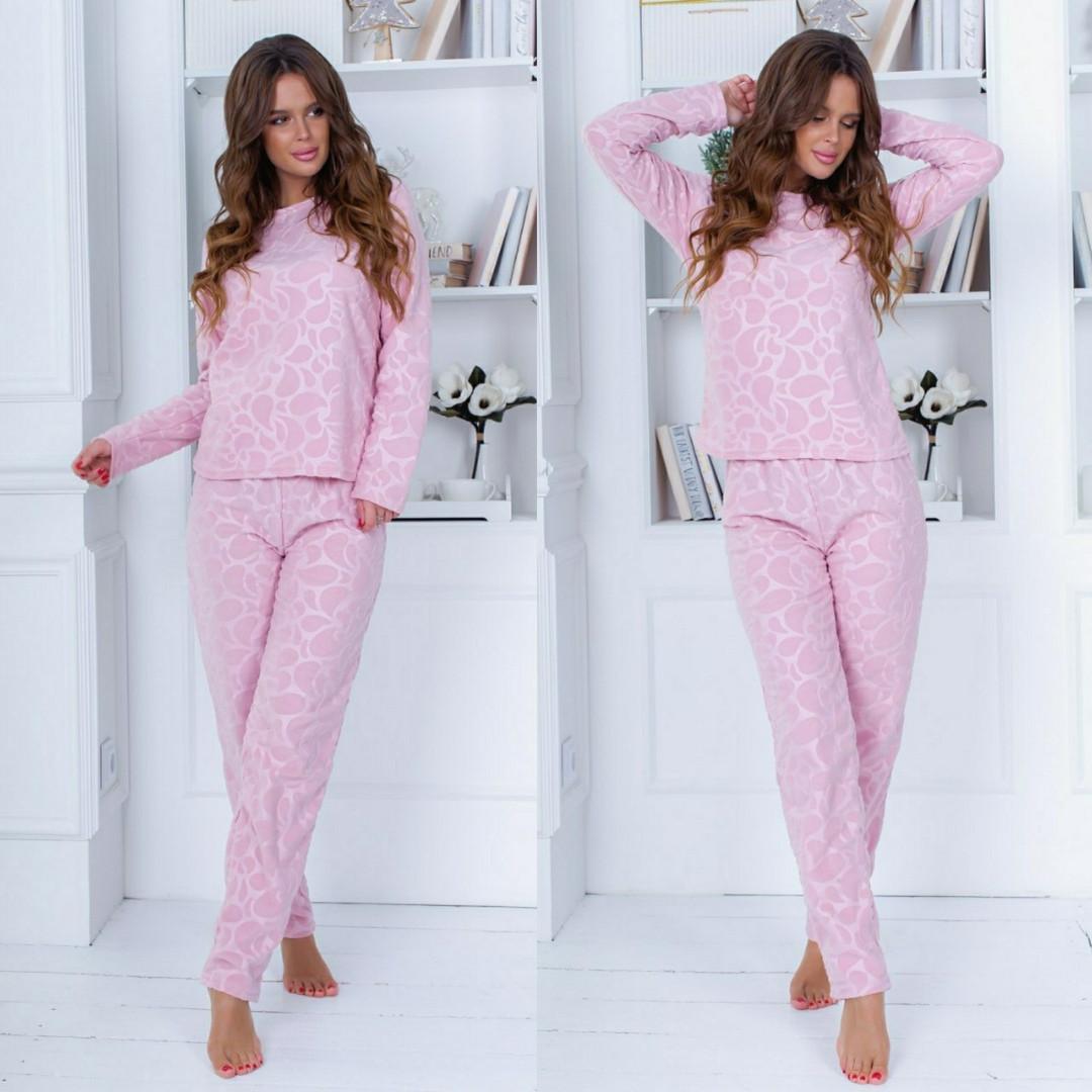 """Женский домашний пижамный комплект с брюками 604-1 """"Полар Жаккард"""" в расцветках"""
