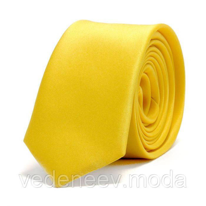Желтый узкий галстук , микрофибра высокого качества