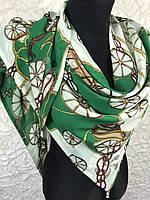 Шифоновая люксовая косынка зеленого цвета с принтом в виде якоря (2)