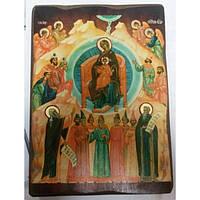 Собор Пр.Богородицы Икона  Греческая под старину ХОЛСТ НИМБЫ 16х22