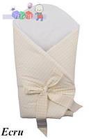 """Конверт -одеяло для новорожденного c бантом со вставкой( бежевый ) """"Duetbaby"""""""