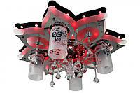 """Люстра потолочная """"Космос"""" с цветной LED подсветкой и автоматическим отключением с пультом (19х52х52 см.) Черный, хром YR-5561/4+1"""