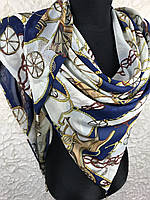 Шифоновая люксовая косынка синего цвета с принтом морской тематики, стразами и камушками (8)